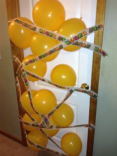 I did this to my sons bedroom door the night before his birthday so he gets a good surprise in the morning when he wakes up on his special day . I used happy birthday streamer