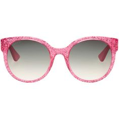 Gucci Pink Round Glitter Sunglasses ($325) ❤ liked on Polyvore featuring accessories, eyewear, sunglasses, glasses, pink, acetate sunglasses, round glasses, pink lens sunglasses, pink sunglasses and engraved glasses