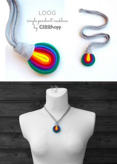 Rayas de collar/arco iris/Marina/reciclado/hecho a por cirrhopp