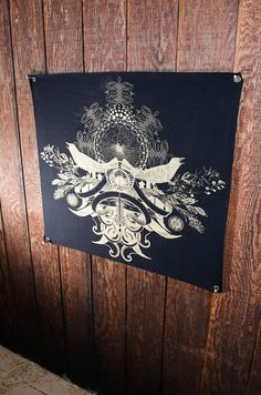 Wall Tapestry- Gold Bird Crest Banner- Organic Cotton Canvas w/ Eyelets SALE from GLASS MAGPIE APPAREL