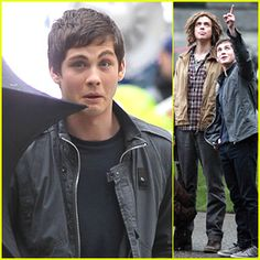 Image detail for -Logan Lerman: Funny Faces on 'Sea of Monsters' Set