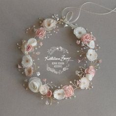 Bridal Crown Wreath - Colors to Order - Rose Gold Blush Pink and Ivory Style: Nicci - A customizable floral crown / wreath – hair vine with delicate handmade flowers and detailing ech - Blush Rosa, Blush Pink, Pastel Pink, Dusty Pink, Bridal Crown, Bridal Hair, Blush Bridal, Fabric Flowers, Paper Flowers
