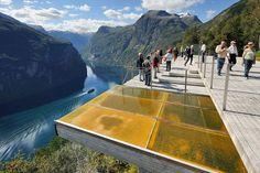 Ørnesvingen viewing platform, high above Geirangerfjord. Along Trollstigen National Tourist Route in Western Norway.