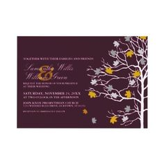 Falling Leaves Autumn Wedding Invitation