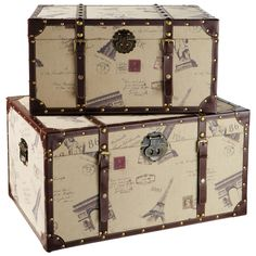 Set of two trunks Monuments - Almacenaje - Maisons du Monde Mdf and large patterned fabrics Model Height 37 cm Width 70 cm Depth 49 cm Height 31 cm Small size Width 61 cm Depth 44 cm Composition: Wood Fabric Vintage Suitcases, Vintage Sofa, Vintage Luggage, Retro Vintage, Old Trunks, Vintage Trunks, Trunks And Chests, Carton Diy, Steamer Trunk