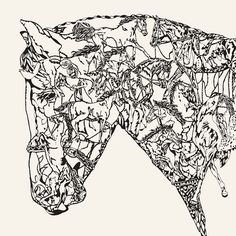 Susie Wright - Illustration of a horses head filled with other horsesScreen printEdition of H: 70 cm x W: ink printed on Somerset Satin off white paper Horse Outline, Horse Logo, Animal Coloring Pages, White Horses, Horse Head, Screen Printing, Art Projects, White Paper, Somerset