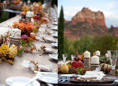 L'Auberge de Sedona views of the red rocks on the lawn outside the Monet Ballroom  fall table decor, orange, yellow, red, berries, red rocks