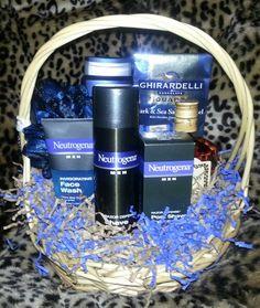Winning Basket for Robert Mendelsohn~MENS GROOMING BASKET~Neutrogena face wash, Shave gel and Post shave otion. Nivea mens 3 in 1 body wash, bath/shower sponge, Ghiradelli chocolates, Hennessy.~$65.00 value Face Wash, Body Wash, Special Gifts For Him, Gift Baskets For Men, Shave Gel, Bath Shower, Neutrogena, Beauty Room, Chocolates