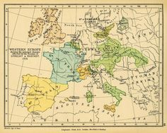 Western Europe showing the principal changes effected by the Treaties of Utrecht & Rastatt Map from page 66 of The Public Schools Historical Atlas by Charles Colbeck.