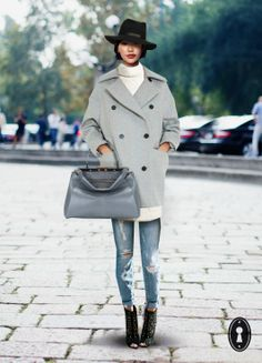 Fendi, collage, grey coat, outfit, hat, blogger