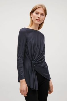 Top with front drape detail - Indigo - Tops - COS US