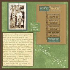 Family History Scrapbook layout with mini family tree