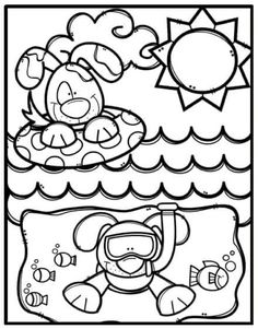 Summer Coloring Pages, Coloring Sheets For Kids, Colouring Pages, Coloring Books, Creative Clips, Art Worksheets, Toddler Art, Summer Crafts, Summer Colors