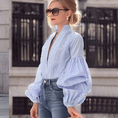 """When dressing up for work or for the casual with a sophisticated look, you're going to love wearing a blouse like this bell sleeve top. Casual Skirt Outfits, Cool Outfits, Fashion Outfits, Fashion Ideas, Fashion Inspiration, Women's Fashion, Long Sleeve Tops, Long Sleeve Shirts, Streetwear"