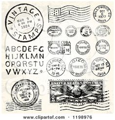 Vintage Postmark Stamps and Letters Posters, Art Prints