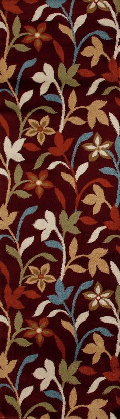 World Rug Gallery Alpine Modern Contemporary Leaves 112 Burgundy Indoor Area Rug Runner 2' X 7'2, Red
