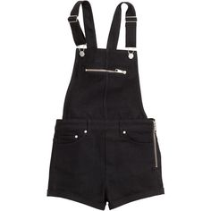 H&M Bib shorts (€8,13) ❤ liked on Polyvore featuring shorts, overalls, bottoms, dresses, black, black short shorts, overall shorts, short shorts, bib overalls and black overalls