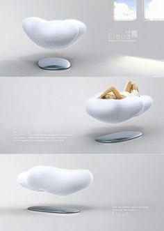 DORMINDO NAS NUVENS - Os designers de Hong Kong, David Koo e Zheng Yawei vieram com este conceito de design surpreendente para um sofá que só podemos sonhar por enquanto. Sim, o CLOUD é um sofá em formato de nuvem que faz uso força magnética da base inferior para levitar o sofá.