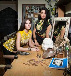 """{LOVE} these ladies at work. Sabine Le Guyader and Jill Martinelli, co-founders/designers of jewelry line """"Lady Grey"""" (inspired by the doomed tale of Lady Jane Grey) Lady Jane Grey, Jane Gray, Boss Lady, Girl Boss, I See Stupid People, Mystery Show, Haute Hippie, Floral Prints, Stylish"""