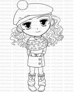 digital stamp winter coloring page big eyed girl illustration digi stamp printable line