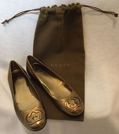 3594c466bbf105 Authentic Gucci Flats Gold Size 35 5 Mint Condition Comes with Gucci Dust  Cover!