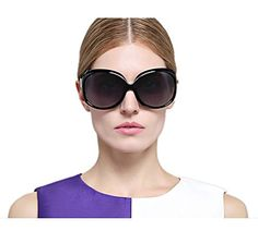 3c4c3cde32 VIVIENFANG Elegant GLOSSY Fashion Oversized Polarized Sunglasses for Women  P1981A Black and Red   Want to know more