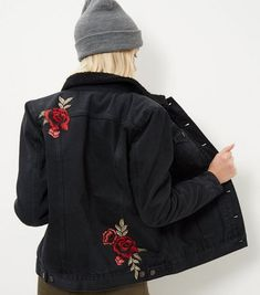 Black Rose Embroidered Borg Lined Denim Jacket | New Look