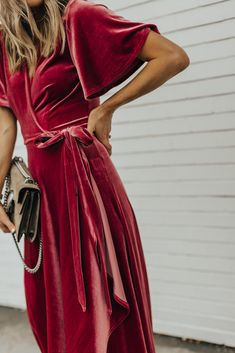 Privacy Please Wrap Dress (fits: TTS, wearing size small) // Blush Velvet Heels // Gucci Bag I've been trying to…