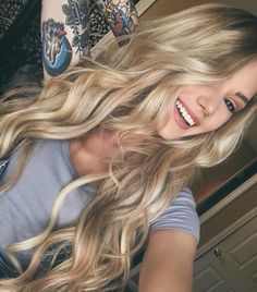 Beautiful Hair - love the Color and be achy waves of what looks Silky & Soft!!!!!!