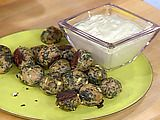 Spanikopita Chicken Meatballs with Spicy Cucumber and Yogurt Sauce Recipe