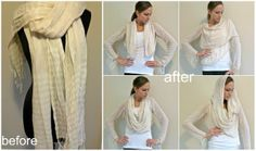 Trash To Couture - scarves into convertible cardi