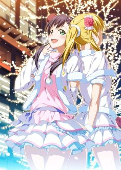 Anime picture love live! school idol project sunrise (studio) toujou nozomi ayase eli 2c=galore (artist) long hair tall image blush open mouth black hair blonde hair smile twintails multiple girls green eyes ponytail holding hands back to back fur trim girl  838x1181 495189 en