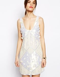 1920s style flapper or great gatsby dress: ASOS Amazing Embellished Shift Dress - White