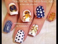 Totally Badass NAUTICAL Nail Art von Robin Moses - robin moses nail art videos - Make Up Cute Nail Art, Nail Art Diy, Easy Nail Art, So Nails, Cute Nails, Nautical Nail Art, Nautical Compass, Nautical Star, Nautical Theme