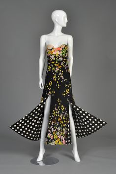 Iconic 1993 Gianni Versace Couture Floral + Polkadot Silk Gown