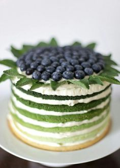 Green gradient naked wedding cake. Great for a natural/rustic theme!