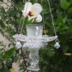 Vintage Cut Glass Elegant Hanging Repurposed Bird by ARTfulSalvage, $43.00