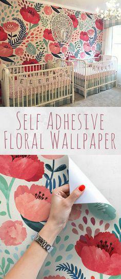Vintage poppy flower wallpaper nursery wallpaper vintage wall art peel and stick wall mural nursery wall decor