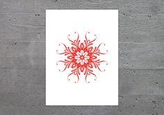 FLORAL ART – Poster, Plakat, rot, Blume, Wandbild, Kunstdruck, Dekor, Design, Art, Kunst, minimalistisch, Kalligrafie, Typografie, Schrift von banum auf Etsy