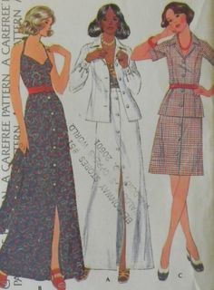 Vintage 1970s Maxi Skirt, Jacket And Halter Top Pattern-Bust 31.5 McCall's 3970 Uncut. $8.00, via Etsy.