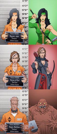 Arkham Asylum mug shots Comics Anime, Dc Comics Art, Marvel Dc Comics, Gotham, Comic Villains, Mundo Comic, Dc Memes, Batman Universe, Dc Characters