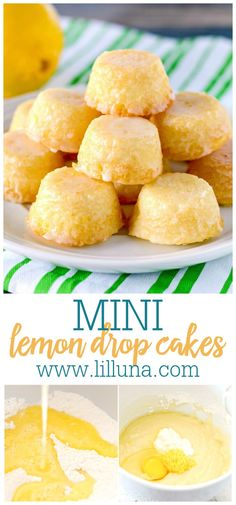 These mini Lemon Drops are a perfect treat for lemon fans. Tiny lemon cakes are drenched in a mouthwatering lemon glaze making them delicious and addicting. #minilemondropcake #lemondrops #lemoncake #dropcakes #minilemoncakes Individual Desserts, Small Desserts, Mini Desserts, Easy Desserts, Delicious Desserts, Yummy Food, Lemon Dessert Recipes, Lemon Recipes, Sweet Recipes