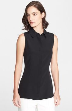 St. John Collection Sleeveless Silk Crêpe de Chine Shirt available at #Nordstrom