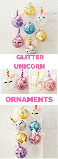 DIY Glitter Unicorn Ornaments. Find out how to easily glitter ornaments and turn them into unicorns. #unicorncrafts #diyornaments #KidsCrafts #christmascrafts #GlitterProjects