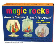 Magic Rocks - this was a must-have toy in the 60's.  I remember it was less than impressive.  Much like Sea Monkeys were.