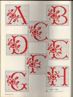 Rose Spray Monogram charts ~ 1 of 3 Monogram Cross Stitch, Cross Stitch Alphabet Patterns, Embroidery Alphabet, Embroidery Monogram, Cross Stitch Charts, Cross Stitch Designs, Stitch Patterns, Cross Stitching, Cross Stitch Embroidery