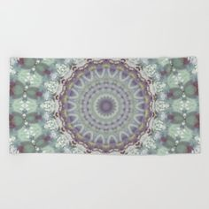 Pastel Floral Mandala in Mint, Purple and White Beach Towel by uteb Watercolor Mandala, Pastel Watercolor, Pastel Floral, Traditional Design, Hand Towels, Beach Towel, Mint, Tapestry, Bath