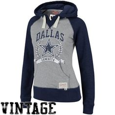 Mitchell & Ness Dallas Cowboys Ladies Ash-Navy Blue Postseason Pullover Hoodie Sweatshirt