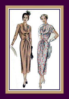 Vintage 1940s AFTER FIVE DRESS Sewing by FarfallaDesignStudio, $52.00