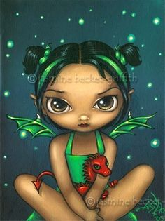 Green Dragonling gothic fantasy fairy dragon art print by Jasmine Becket-Griffith 8x10